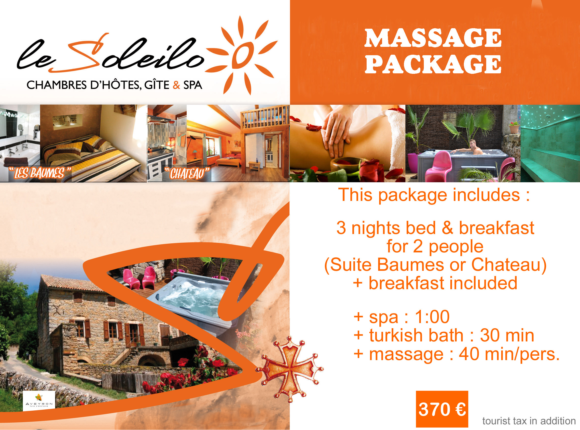 Massage package : bed and breakfast in south France with massage, spa and turkish bath