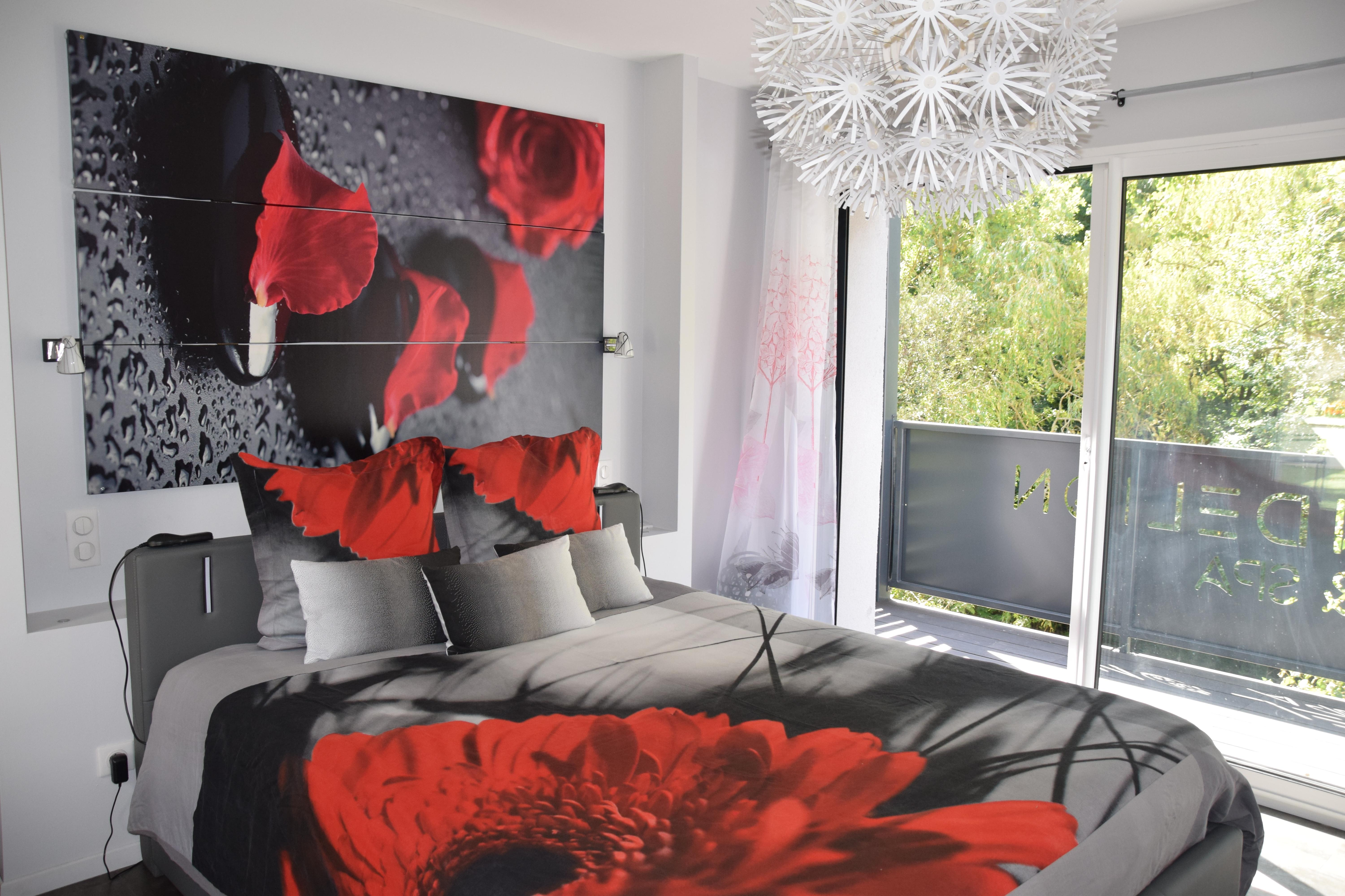 modern grey and red room pebble luxury architect villa for rent Dandelion nature design spa group cottage Gorges of the Tarn Millau Aveyron Lozere Occitania