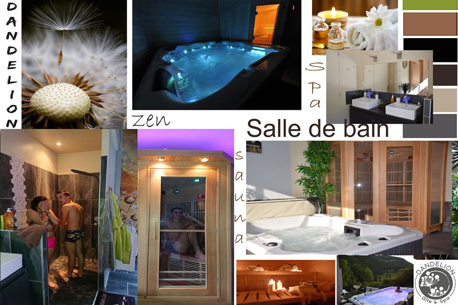 Spa design bathroom with jacuzzi sauna Ecolodge room with jacuzzi Tarn Gorges Aveyron France
