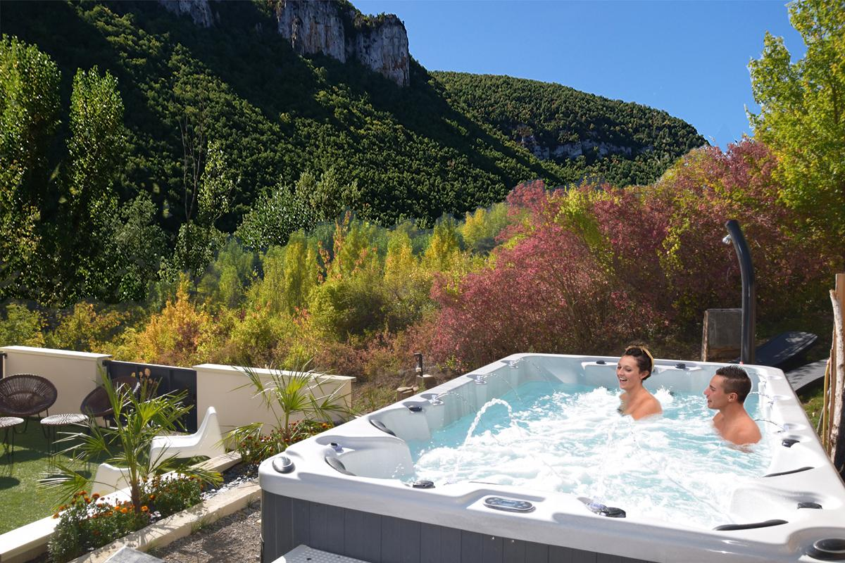 Outdoor swimming Pool Spa Private beach barbecue gite Group Nature Design Dandelion gite Spa gorges du Tarn Millau Aveyron Lozère Occitania