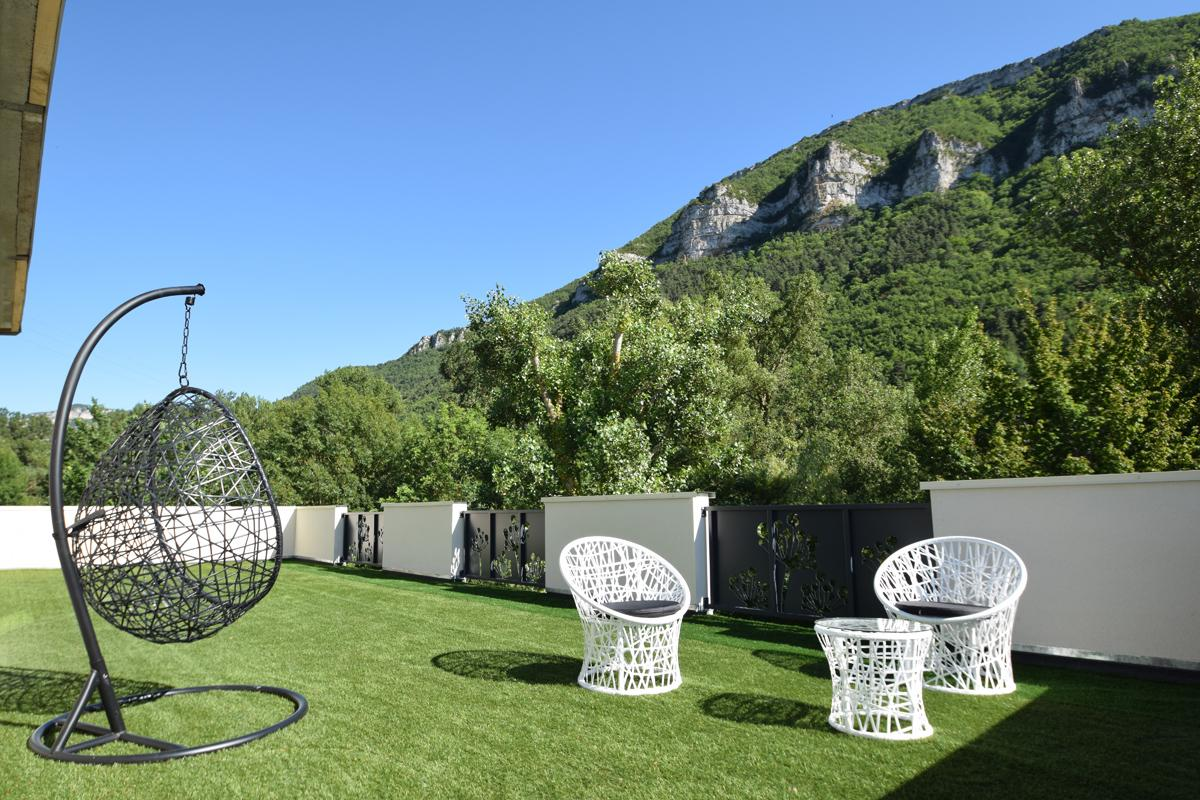 Panoramic Terrace gorges of Tarn Ecolodge bubbles room with jacuzzi Aveyron South France