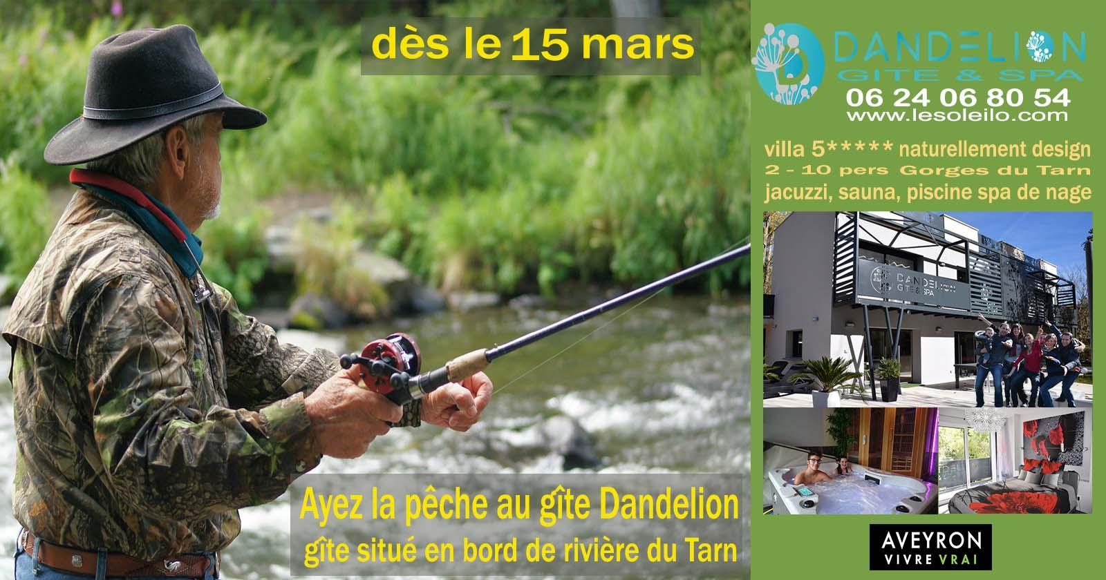 Aveyron fishing trip at the Dandelion river lodge on the Banks of the Tarn