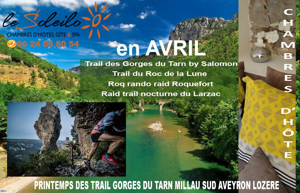 Spring trail of the Tarn Gorges Millau Aveyron Lozere sports weekend and bed and breakfast accomodation