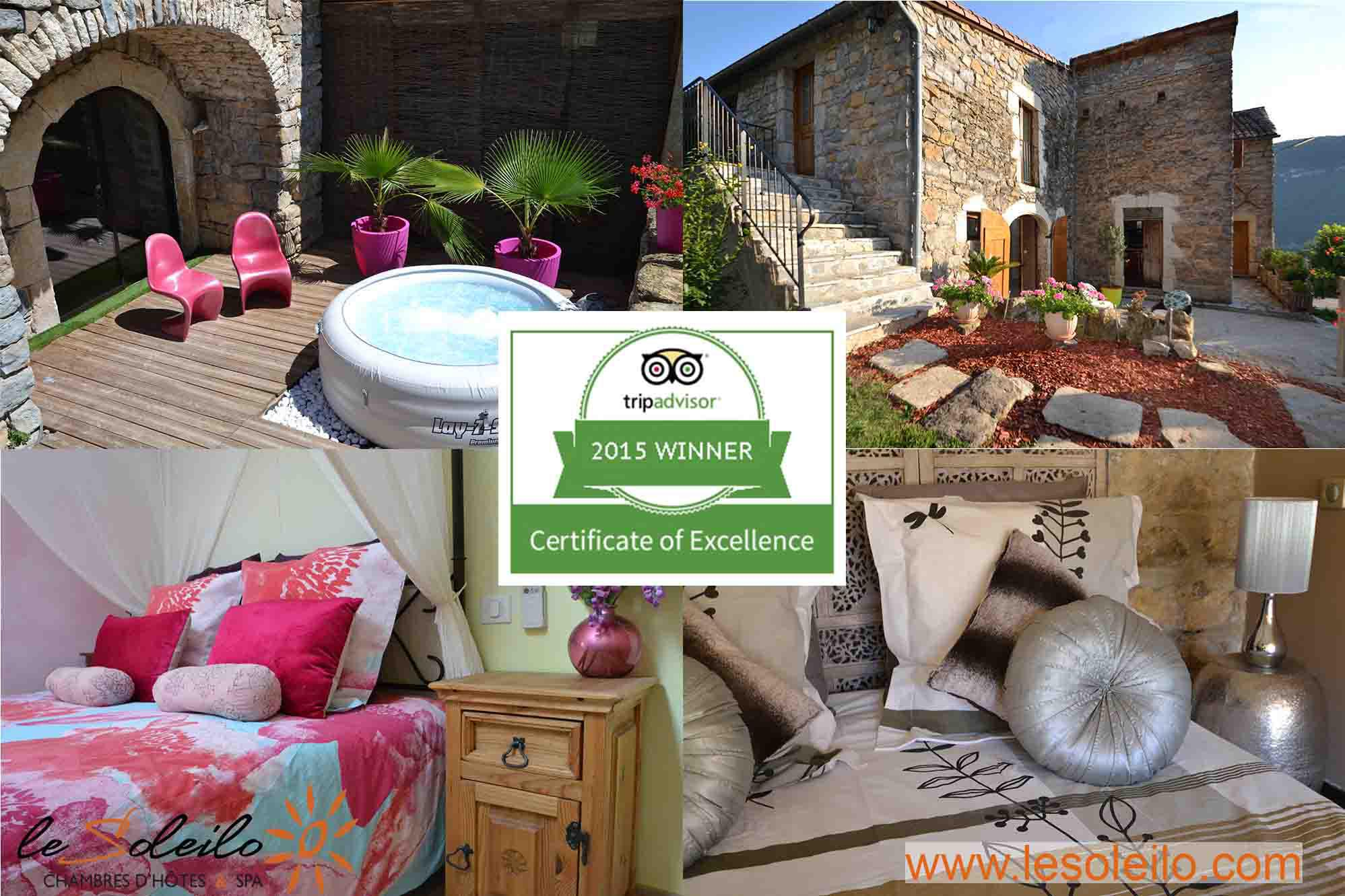 Acknowledgement of The Soleilo elected quality holiday accommodation in the Gorges du Tarn with Tripadvisor Certificate of Excellence