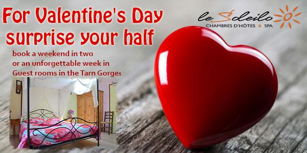 Weekend Valentine's Day or week to rent romantic B & B in the Gorges du Tarn