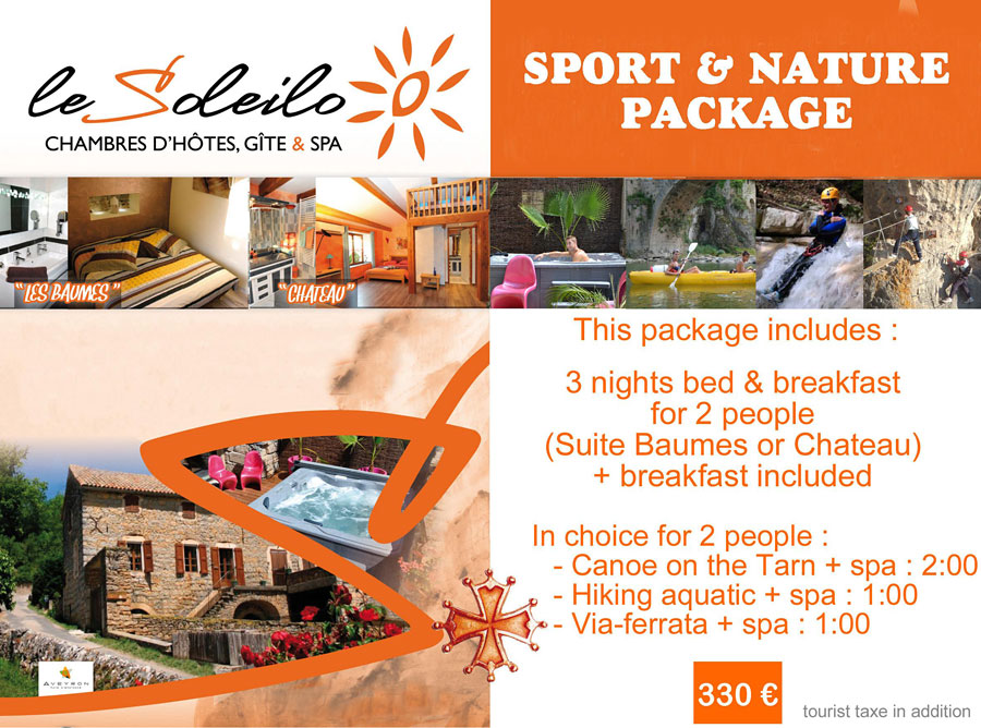 Sport and nature package : bed and breakfast with spa and canoe on the Gorges du Tarn  or hiking aquatic or via-ferrata
