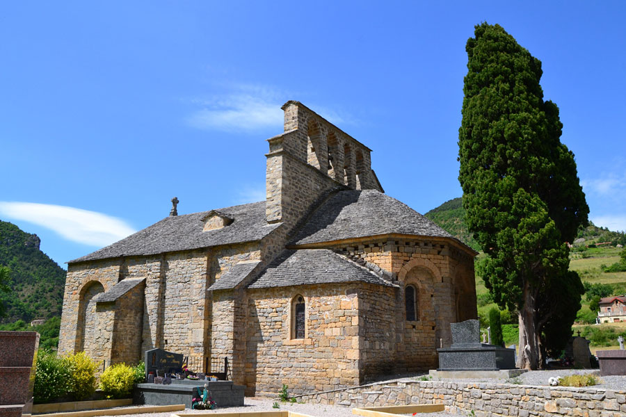 Chapel in medieval village of Mostuejouls in South of France Aveyron