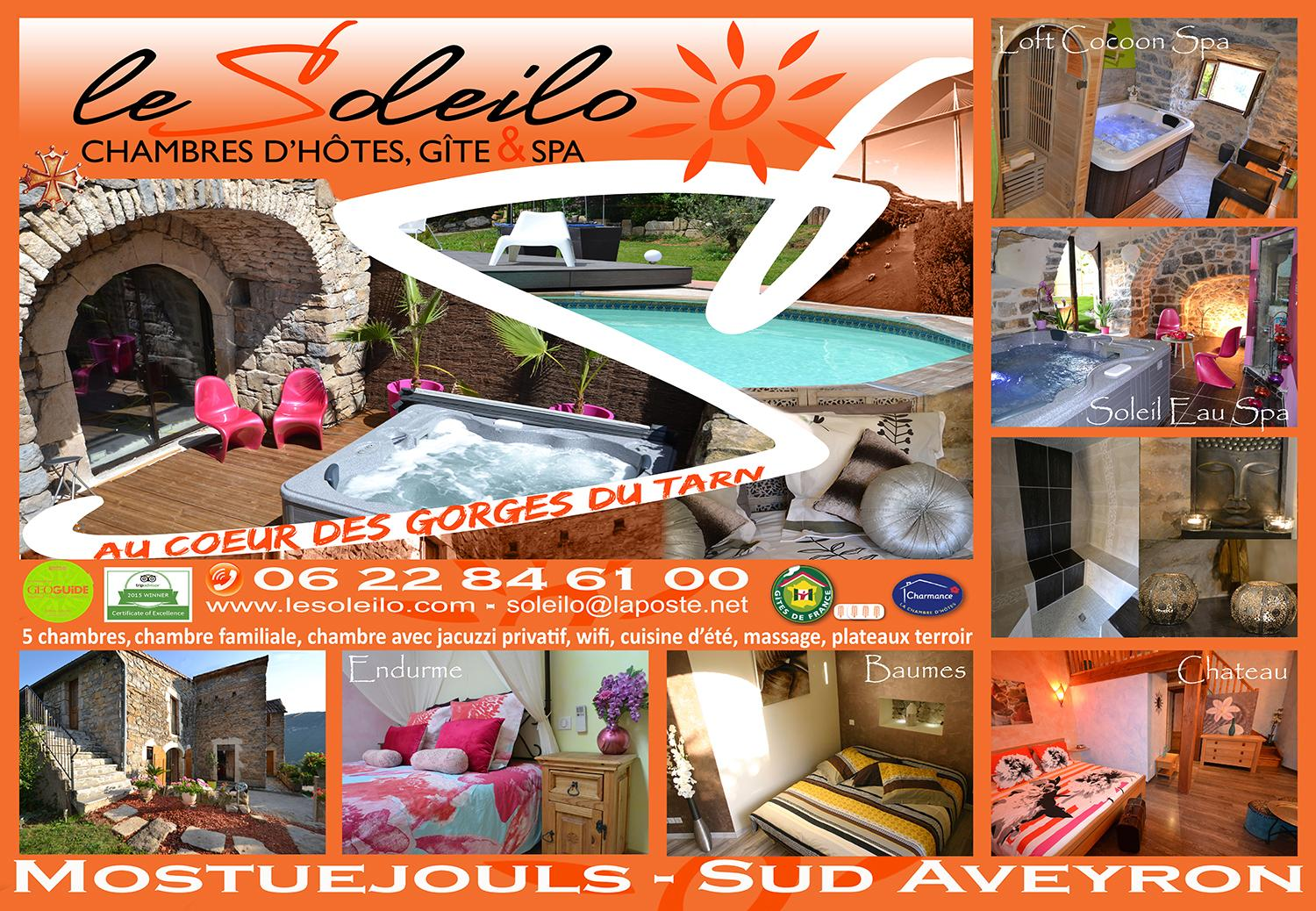 The Soleilo, bed and breakfast or cottage with jacuzzi and swimming pool Aveyron Gorges du Tarn